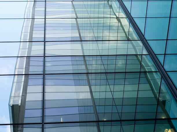 Corner facade reflections stock photo