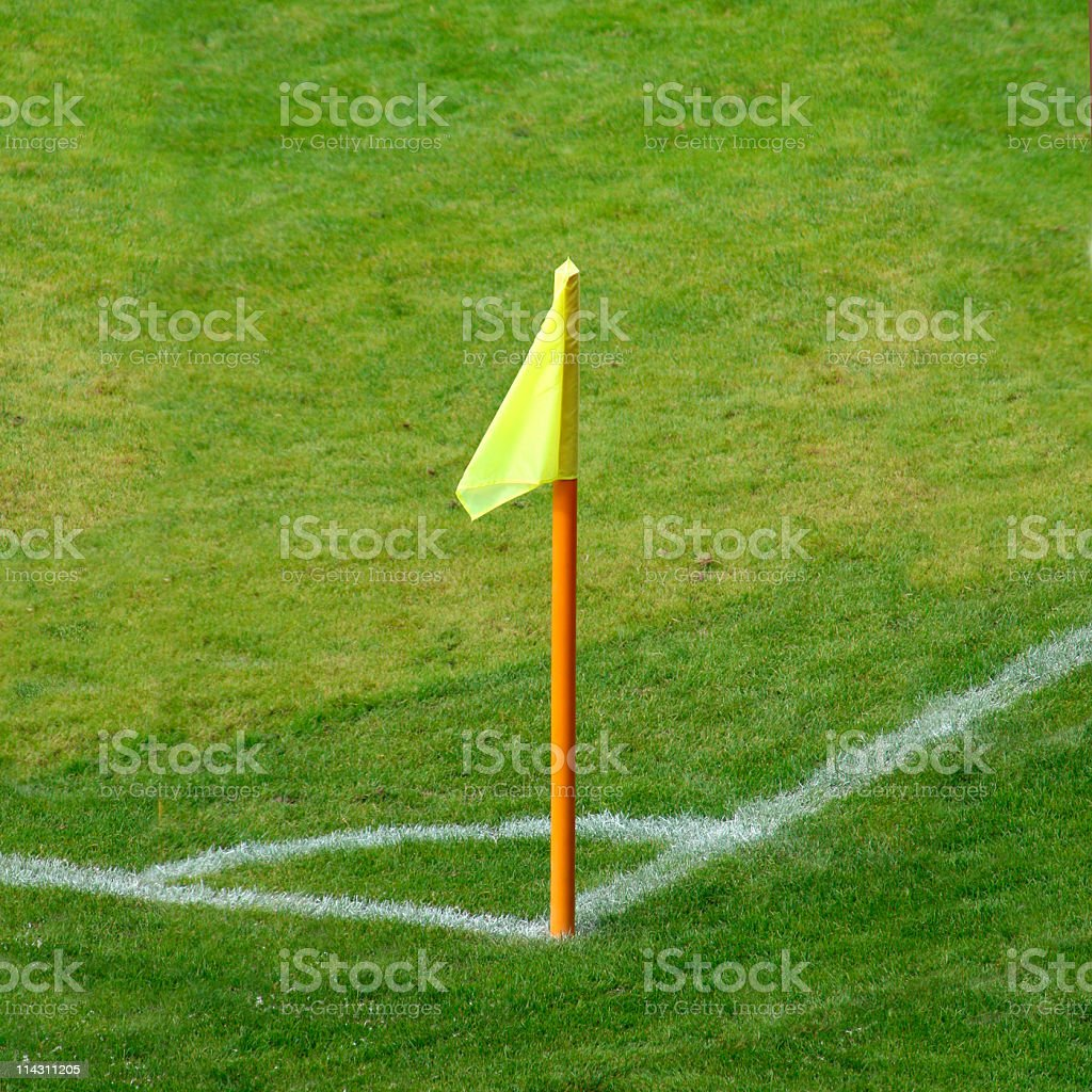 Corner flag of an soccer field stock photo