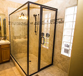Corner Glass Shower In Modern Bathroom