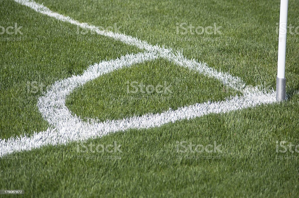 Corner kick area of a soccer field royalty-free stock photo