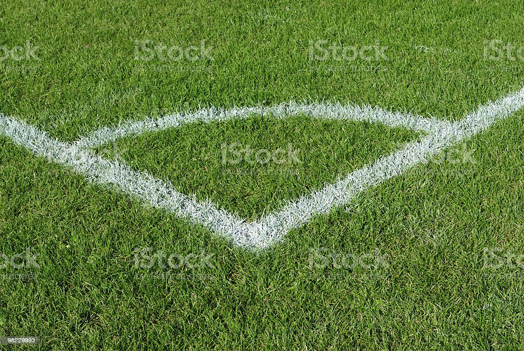 Corner kick area on a soccer field royalty-free stock photo