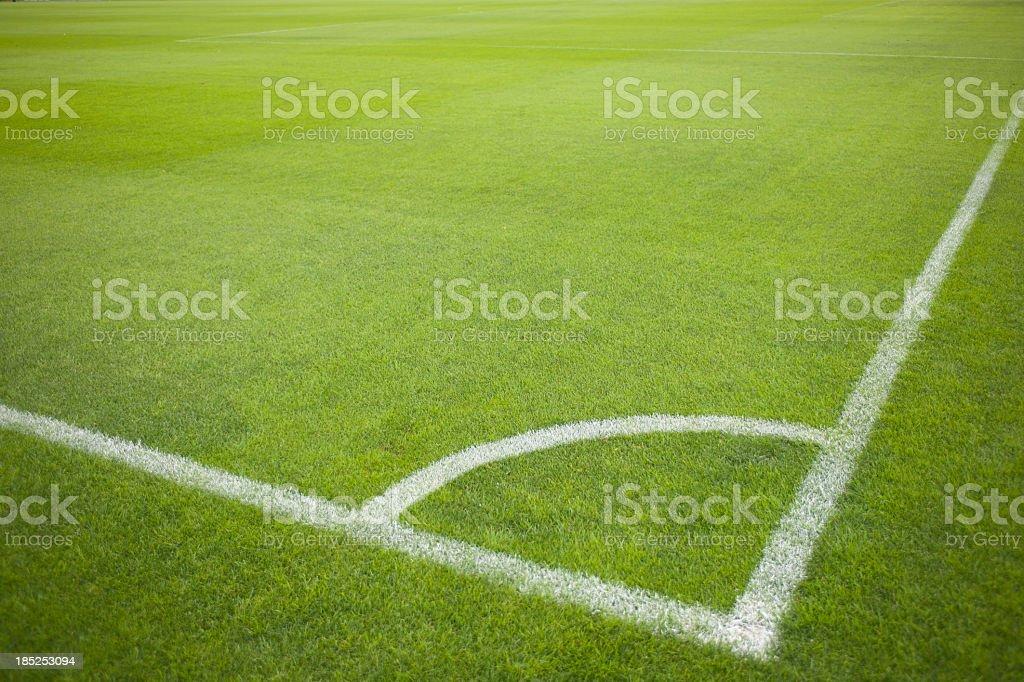 Corner Kick at Soccer Field during Soccer Game stock photo