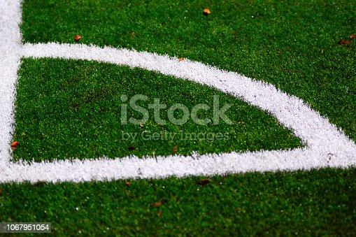 istock Corner line markings football fiels 1067951054