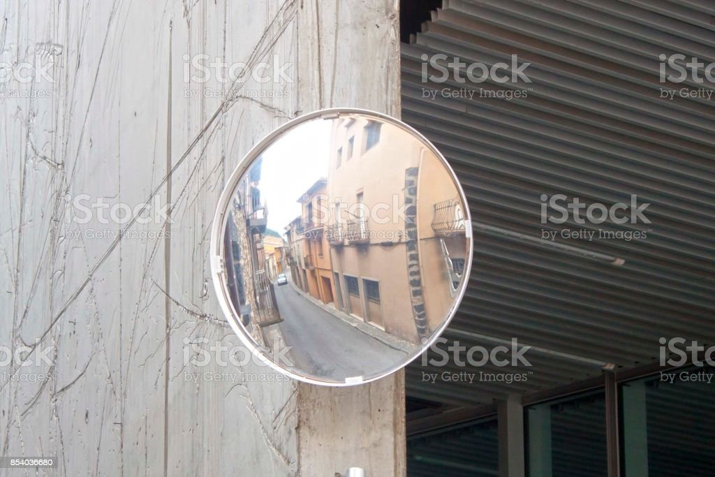 corner mirror in a street of a village, Spain stock photo