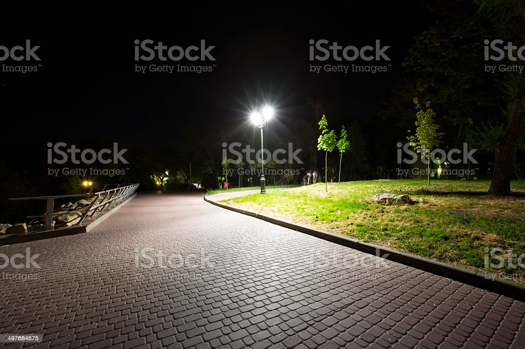 corner Night Park stock photo