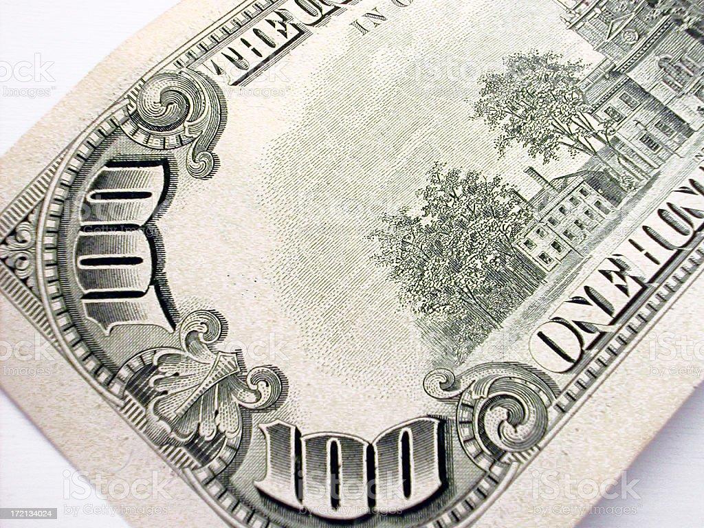 corner of $100 back royalty-free stock photo