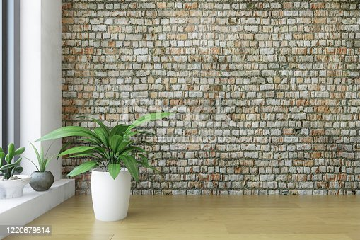 Modern Interior Room with a several Plants near the Big Window, Old Dirty Brick Wall with Wooden Floor, Minimalistic Stylish Decor, Fashion Conceptual Style, 3D Rendering Graphic Design