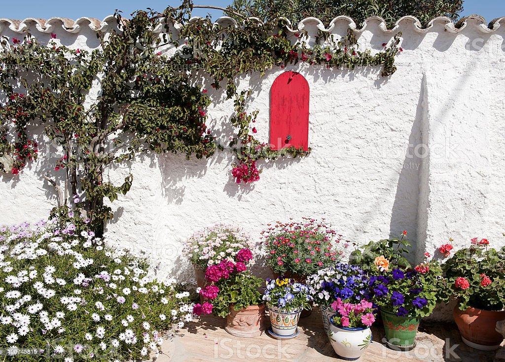 Corner of a Spanish Mediterranean Garden stock photo