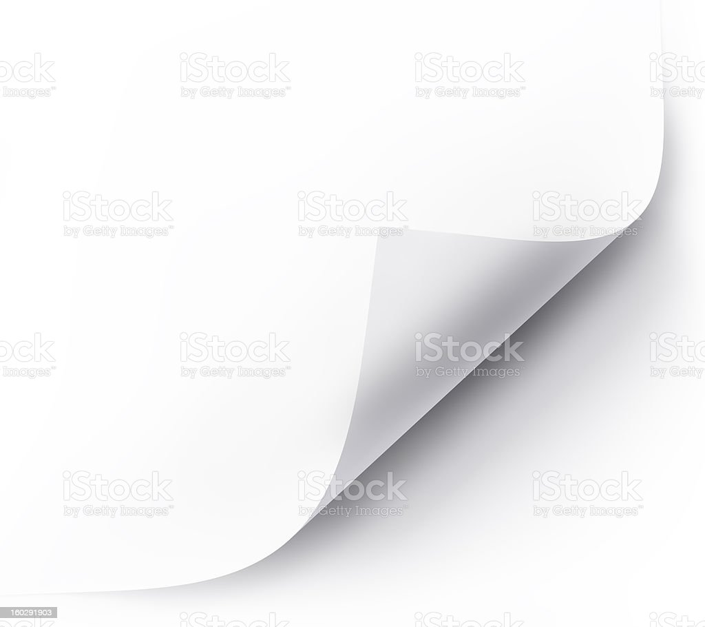 Corner of a white page curling against white background stock photo