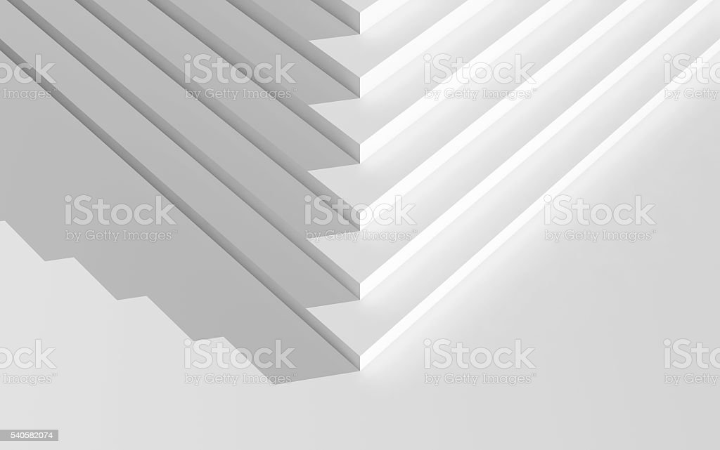 Corner of an empty white stairs, top view, 3d stock photo