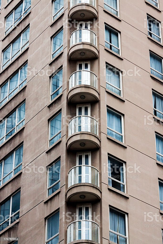 Corner of apartment building with balconies royalty-free stock photo