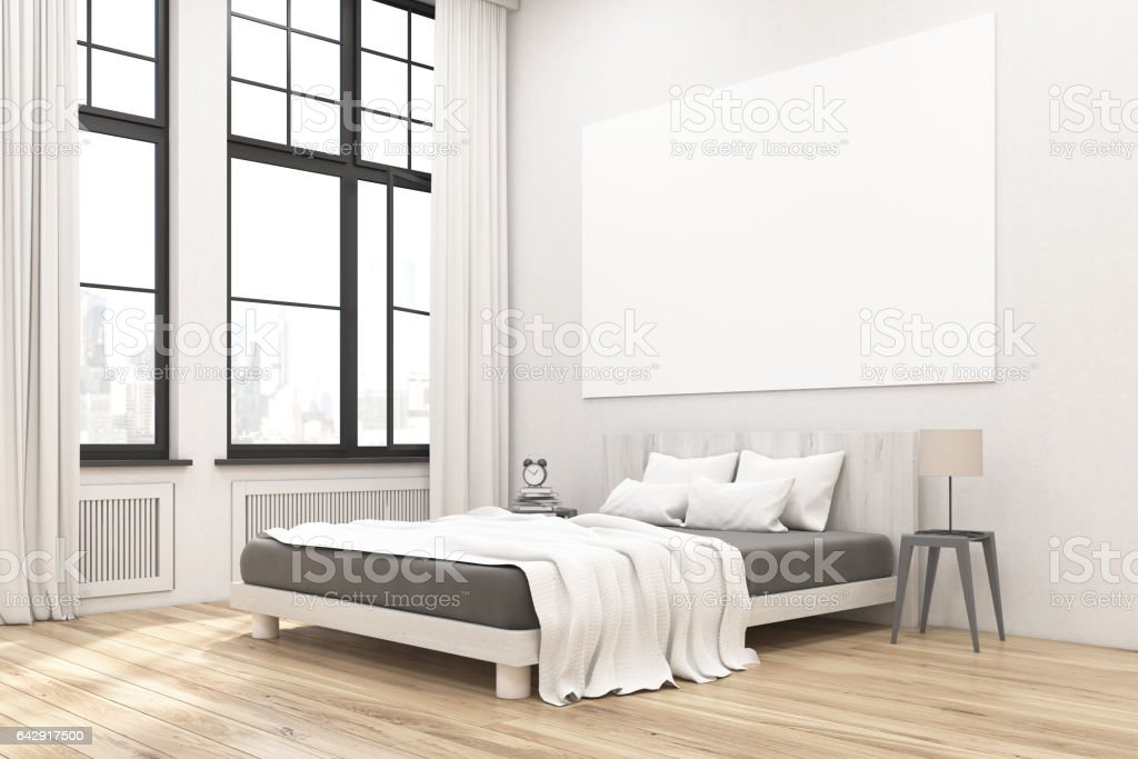 Corner of bedroom interior with poster stock photo