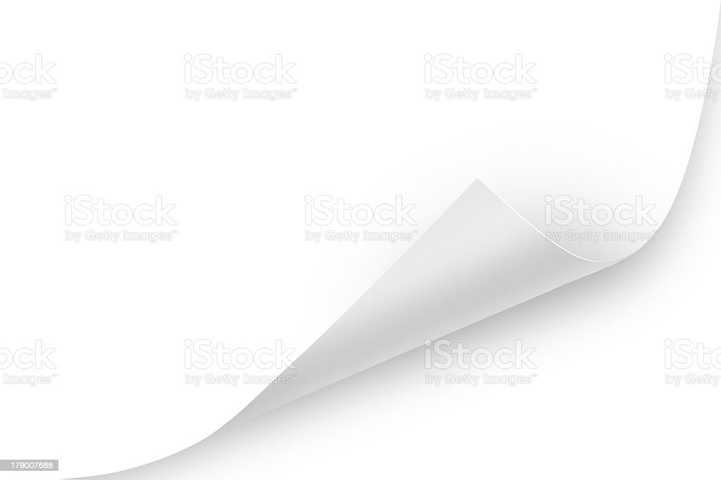 Corner of blank white paper curling up stock photo