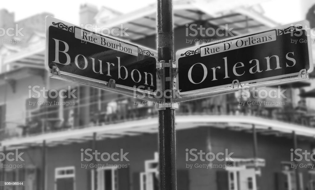 Corner of Bourbon Street stock photo