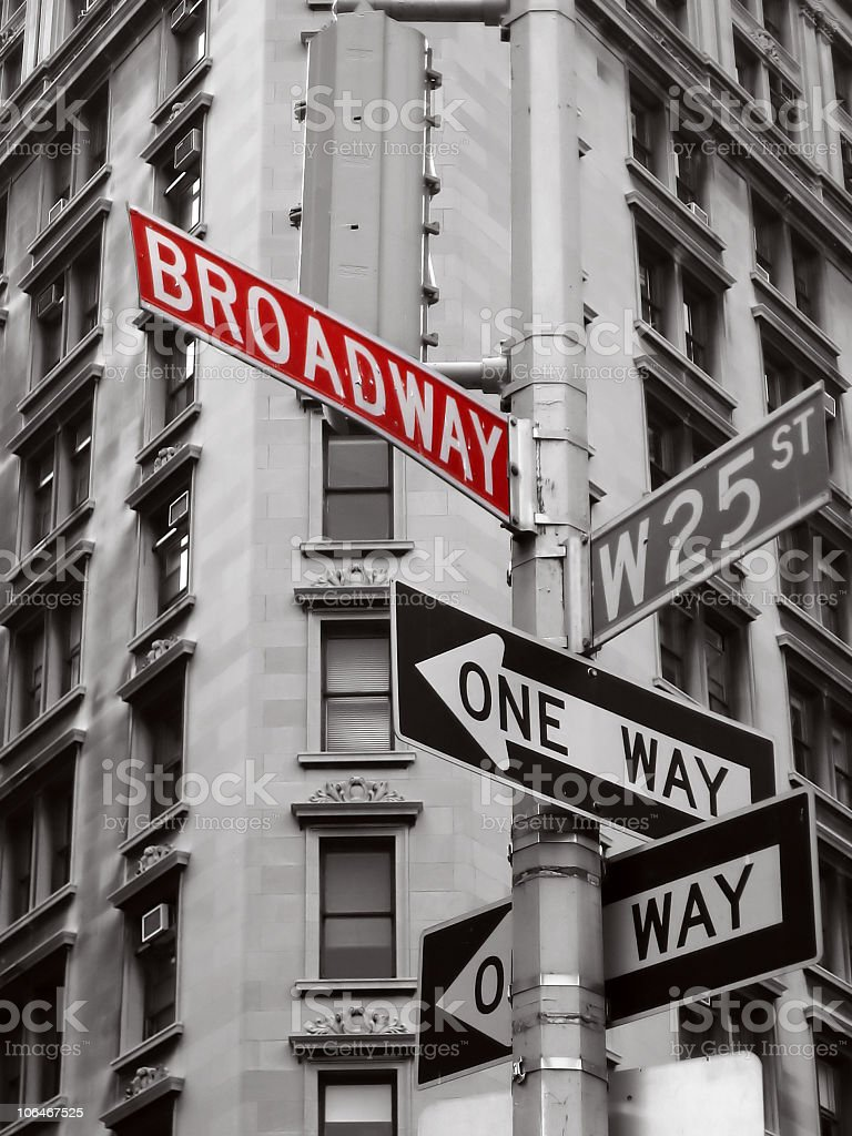 Corner of Broadway and West 25 Street in Manhattan royalty-free stock photo