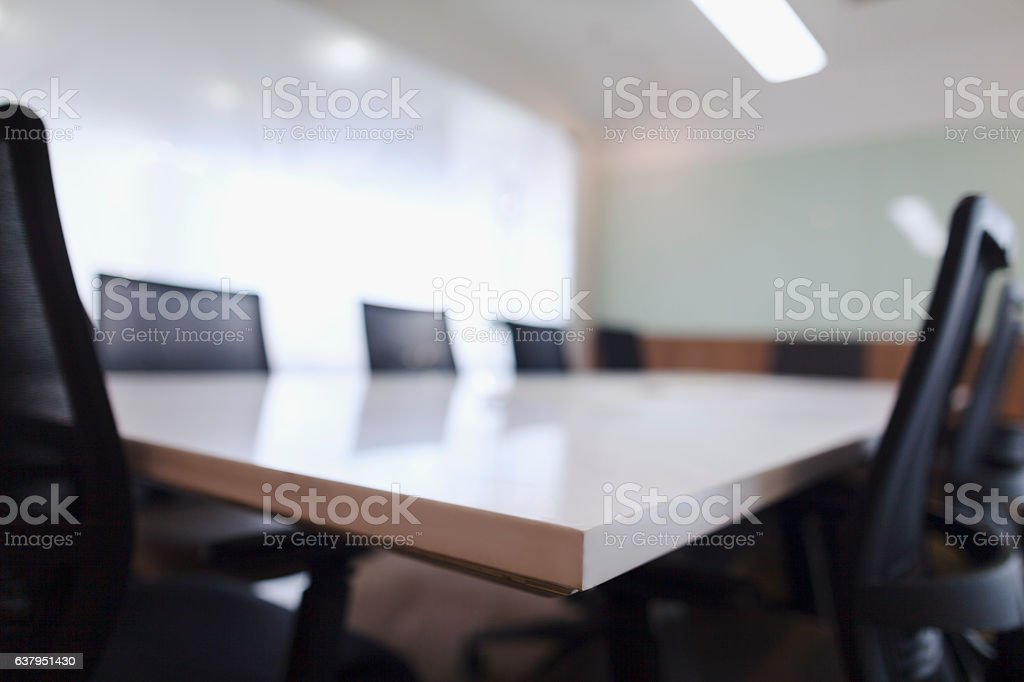 Corner of business conference room table and chairs stock photo