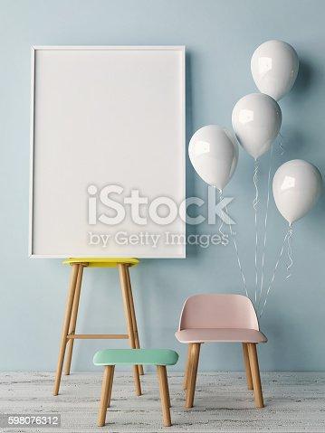 istock Corner of children room, Empty poster 598076312
