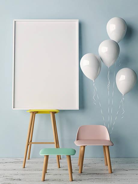 corner of children room, empty poster - partyraum stock-fotos und bilder