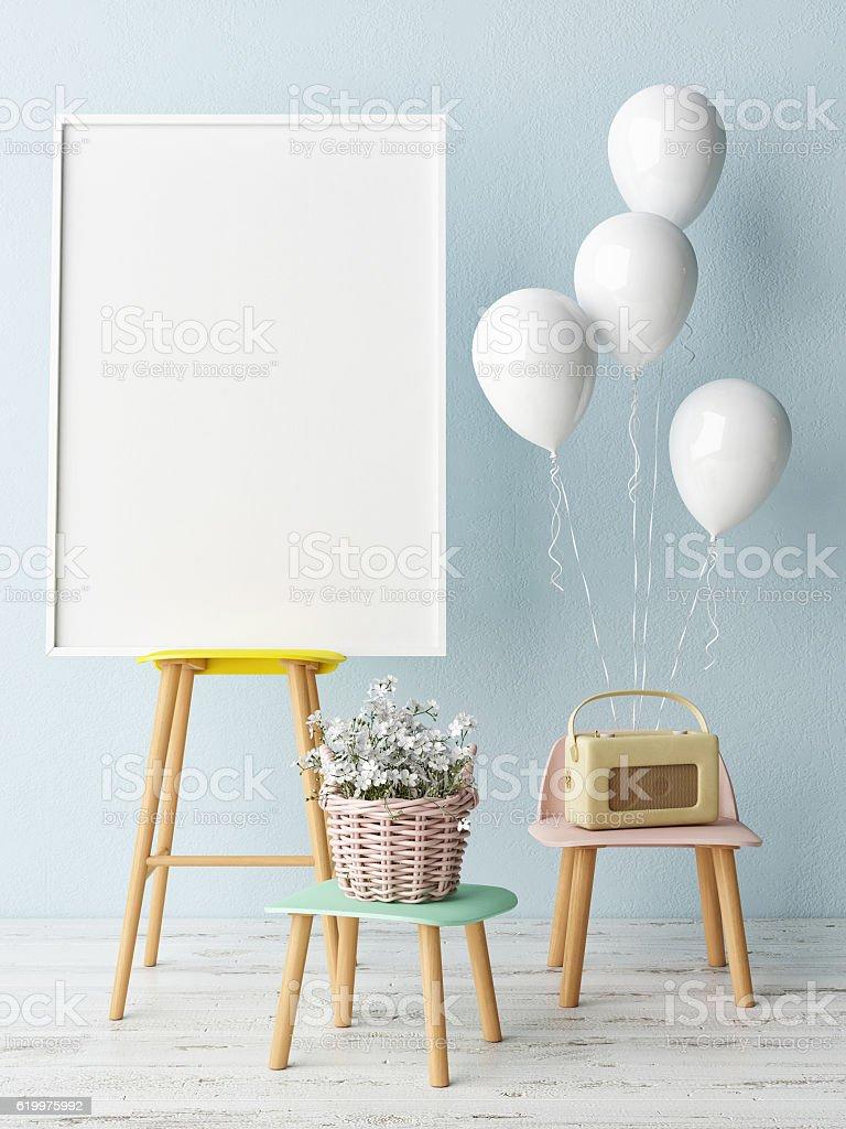 Corner of children room, Empty poster stock photo