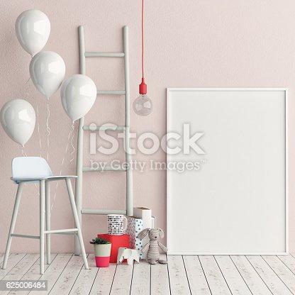 istock Corner of children room, Empty poster 625006484