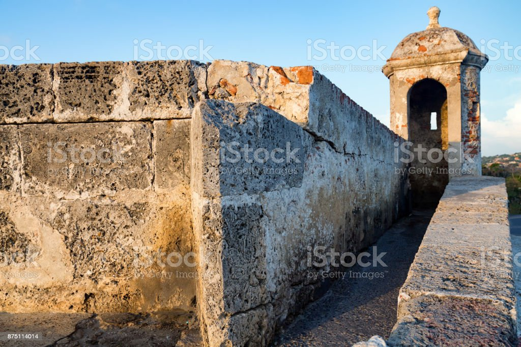 Corner of Colonial Wall in Cartagena stock photo