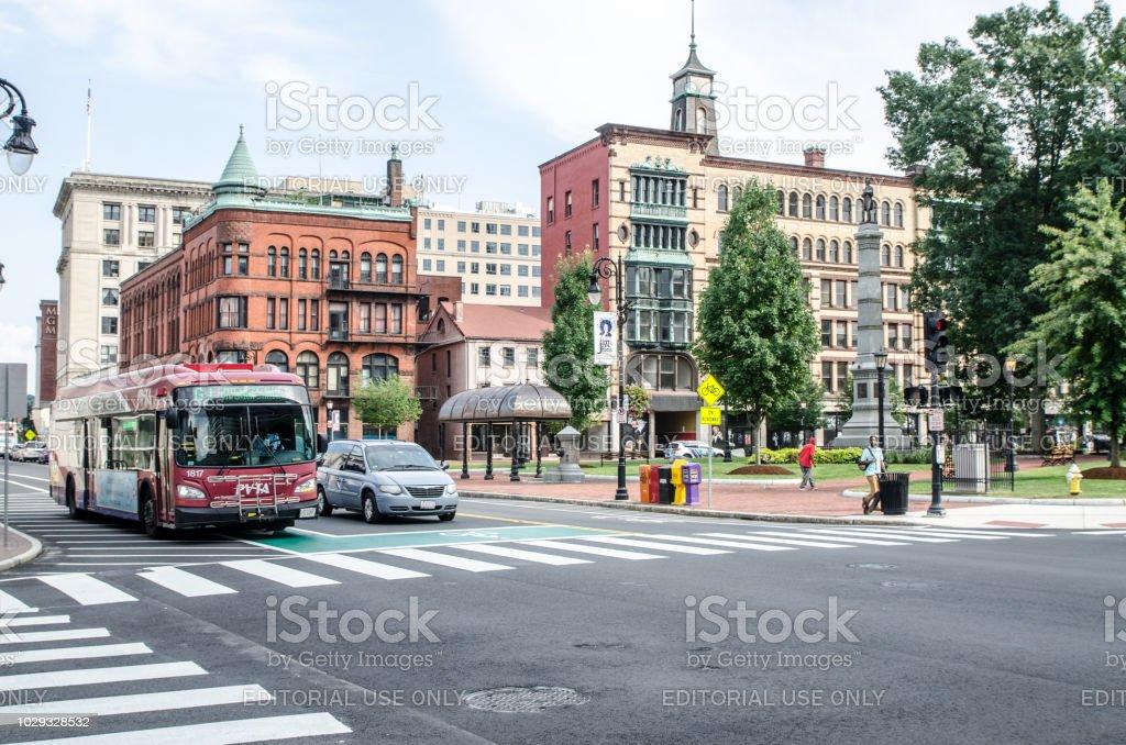 Corner of Court Street and Main Street in Springfield Massachusetts...