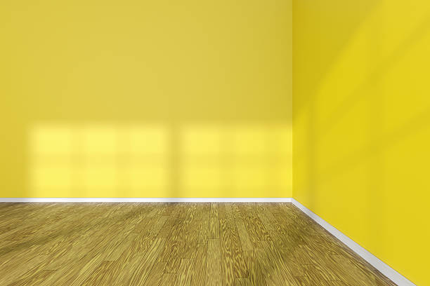 Royalty Free Empty Room Corner With Yellow Walls And