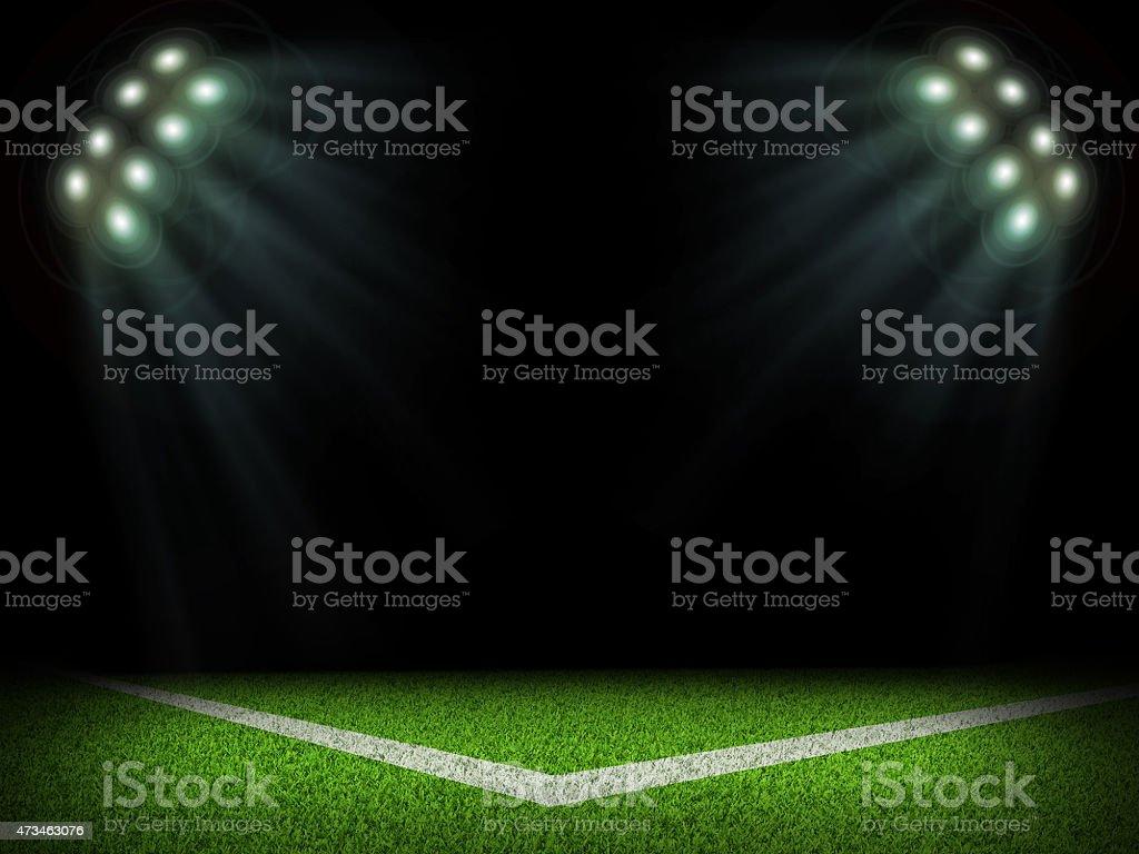 Corner of empty stadium with bright spotlights stock photo