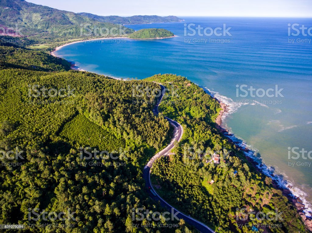 A corner of Hai Van Pass from above ,Danang,Vietnam stock photo