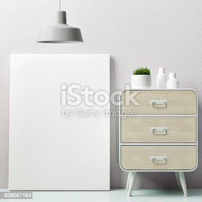 619975932 istock photo Corner of hipster room, mock up poster 638067164