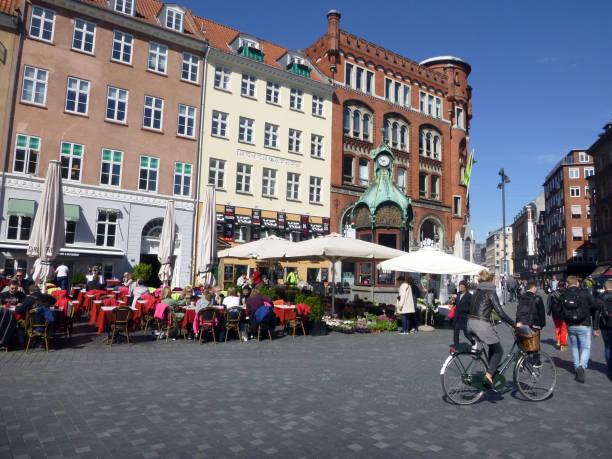 Corner of Kultorvet and Frederiksborggade in Copenhagen Denmark, Outdoor and Cultural stock photo