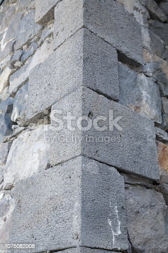 Corner of Stone wall in old town Ardahan, Turkey