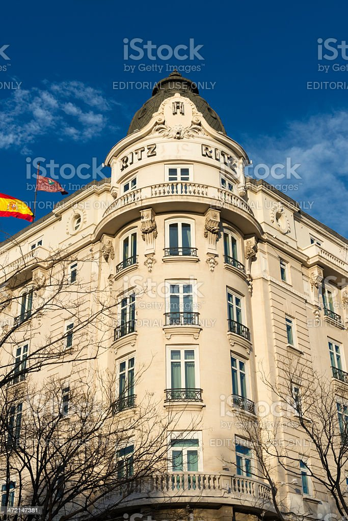 Corner of the Ritz Hotel in Madrid stock photo