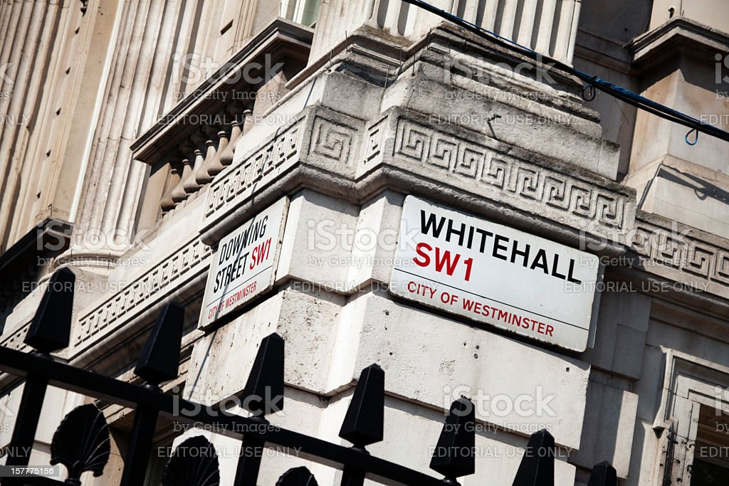 Corner of Whitehall and Downing Street stock photo