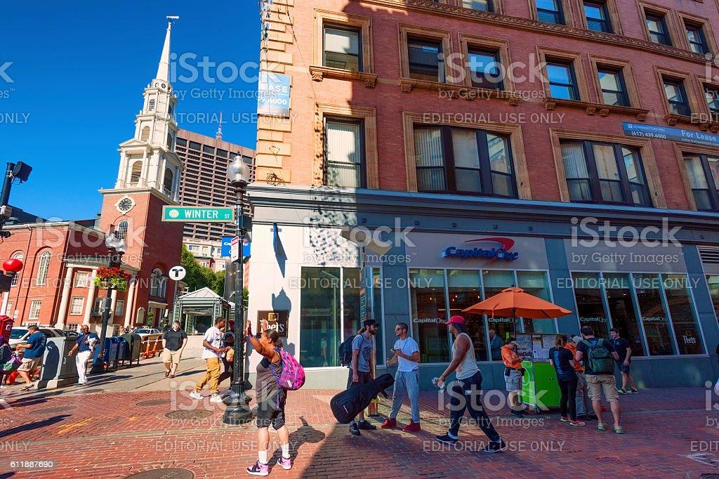 Corner of Winter and Park Steet Boston Massachusetts stock photo