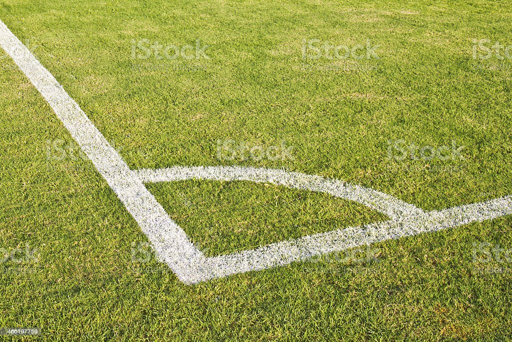 Corner on football pitch with natural grass stock photo