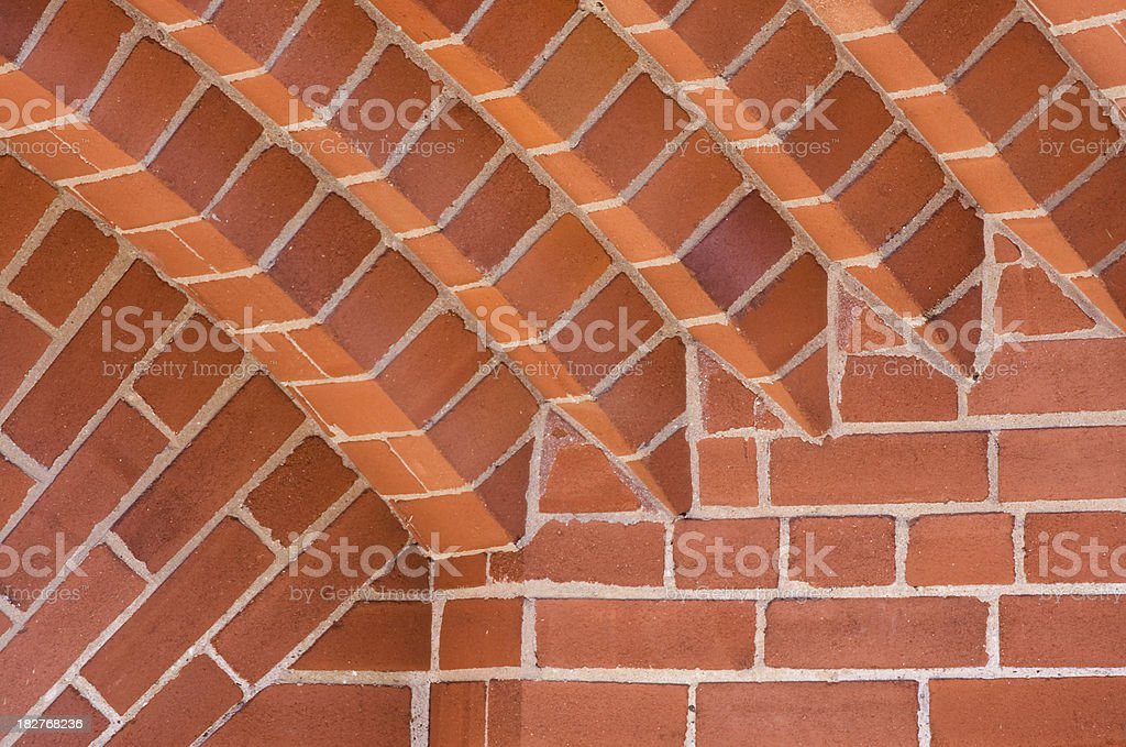 Corner Pattern of Red Brick Archway royalty-free stock photo