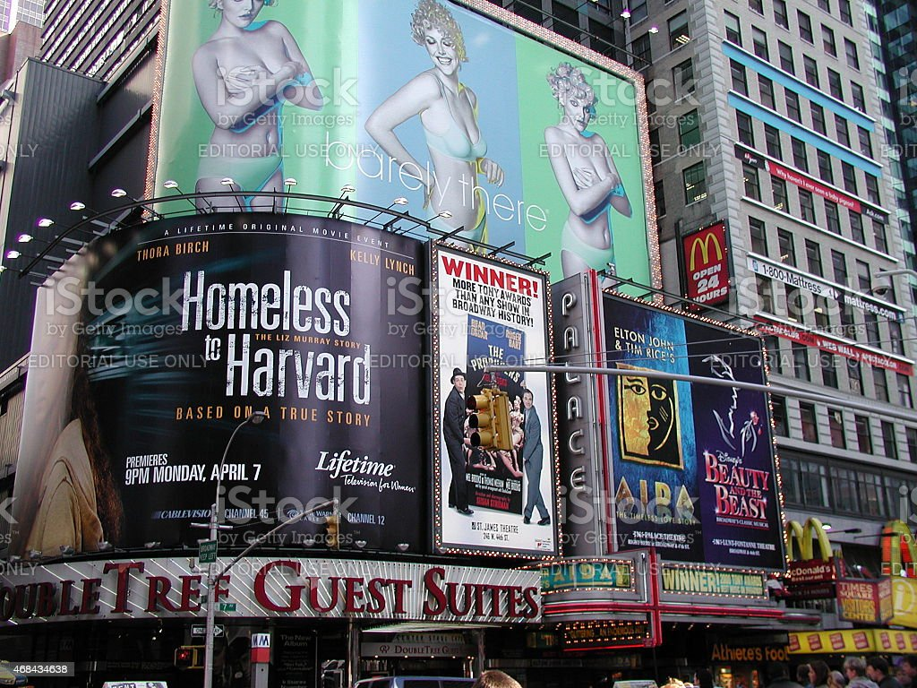 Corner Plastered with Billboards in Times Square stock photo