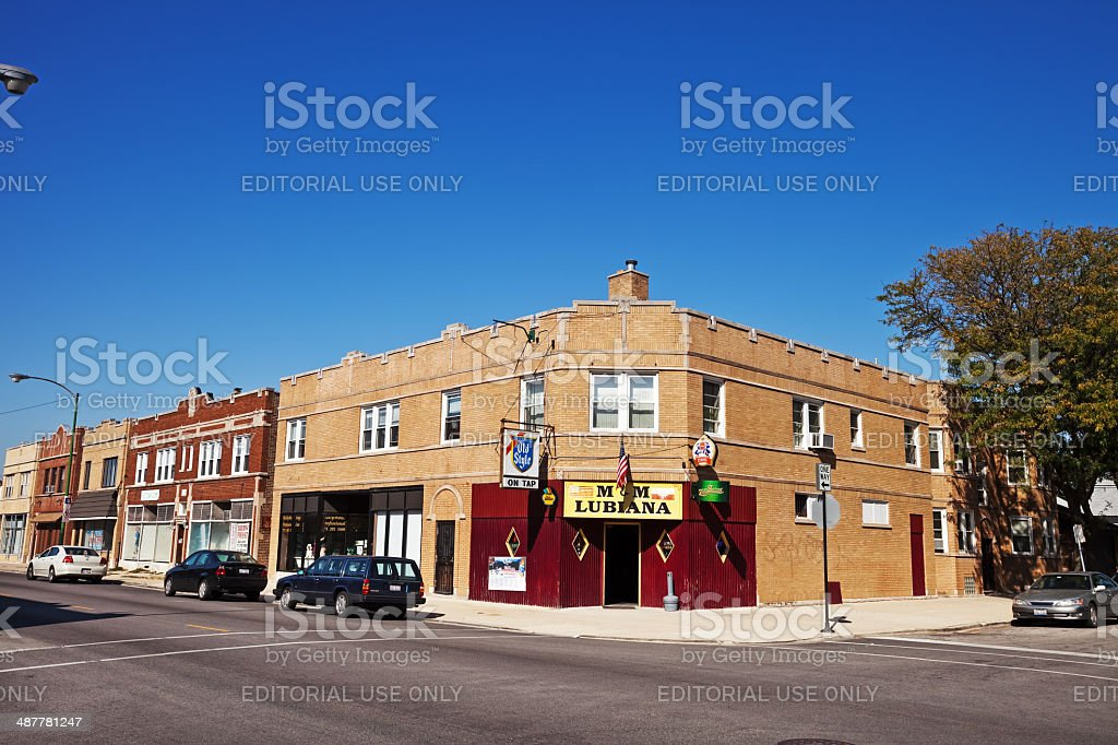 Corner Pub in Dunning, Chicago royalty-free stock photo