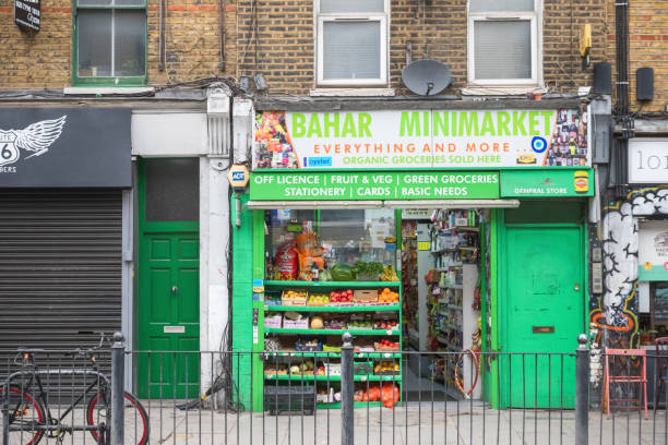 A corner shop around Hoxton in London stock photo