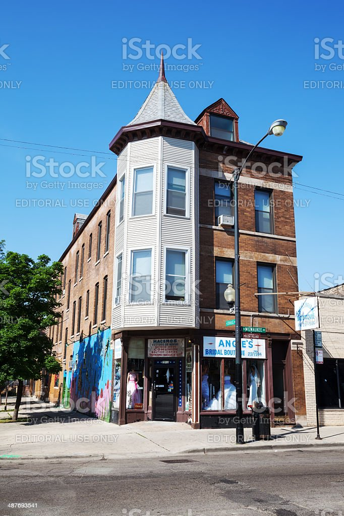 Corner Shop selling Wedding Dresses in Chicago royalty-free stock photo
