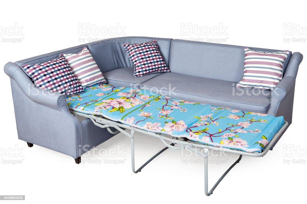 Corner Sleeper Sofa Folding Bed Upholstered In Fabric Light ...