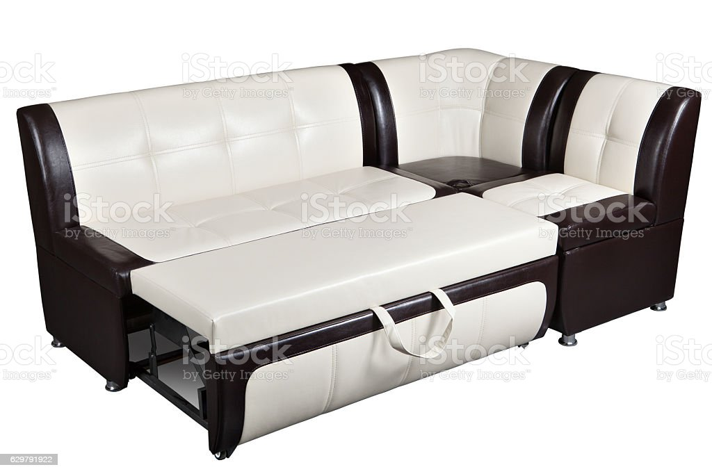 Picture of: Corner Sofa Bed In Artificial Skin Furniture For Kitchen Stock Photo Download Image Now Istock