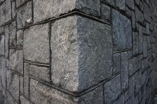 Granite stone blocks forming a corner