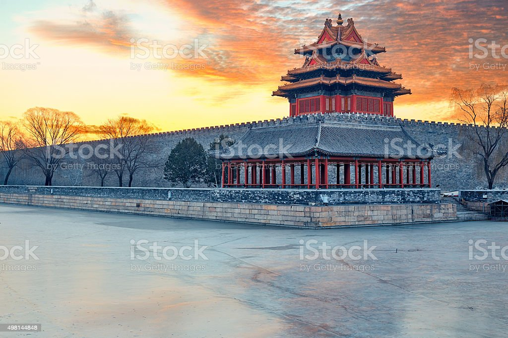 corner tower outside the Forbidden City in central Beijing. stock photo