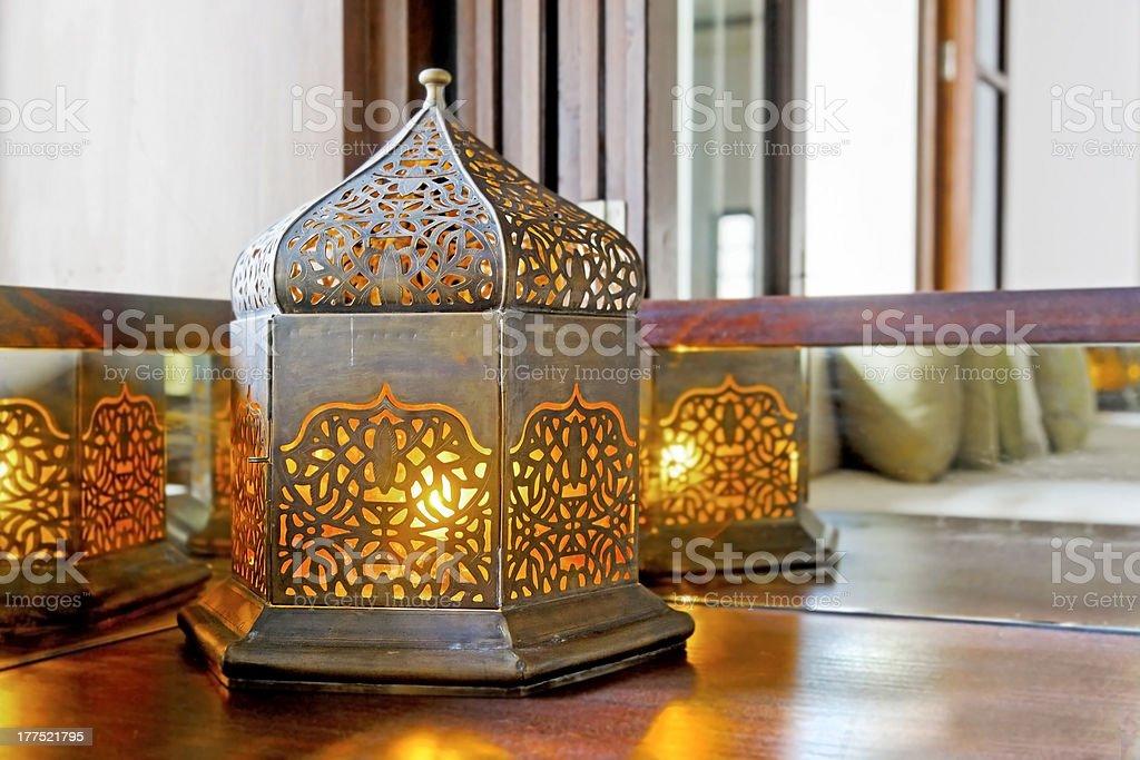 Corner unit incondescent buld lantern lamp stock photo