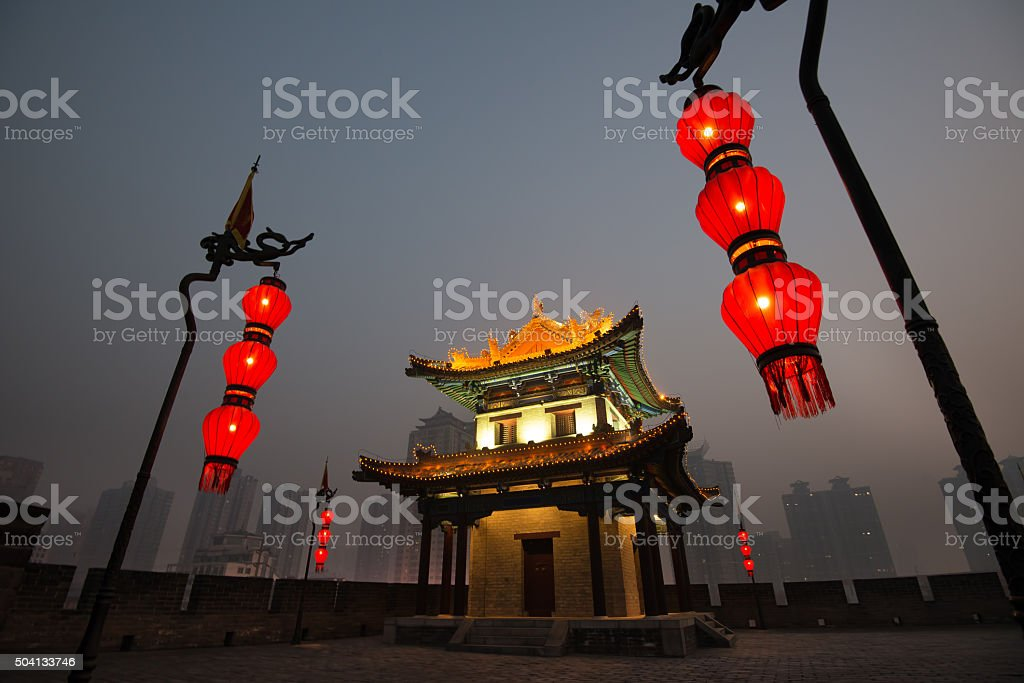 Corner Watch Tower of City Wall in Xian, China stock photo