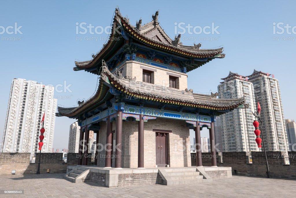 Corner Watch Tower, Xi'an City Wall, Xi'an, China stock photo