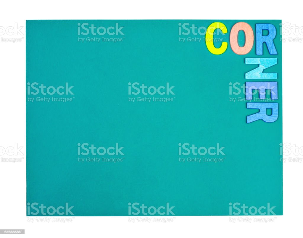 Corner word form wooden color on green board royalty-free stock photo