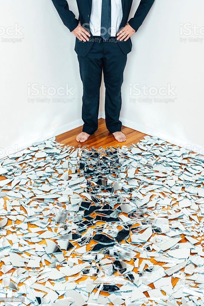 Cornered Businessman stock photo